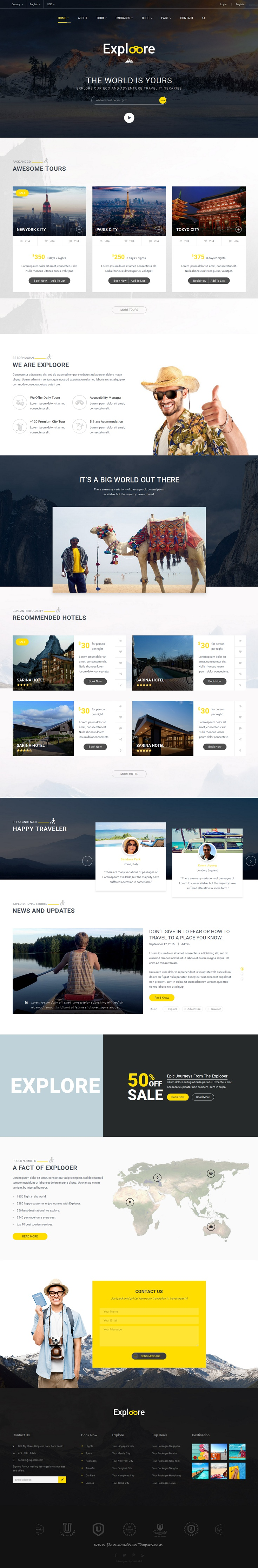 Travel Tour Booking Template | EXPLOORE Travel | Tour operator ...