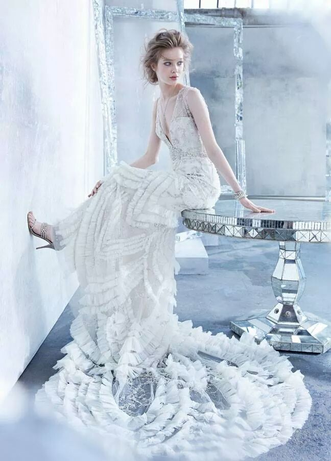 Frilled wedding dress