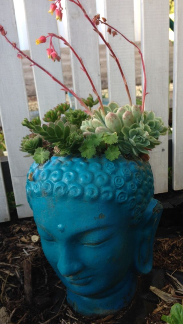 Buddha head spray painted and upcycled......