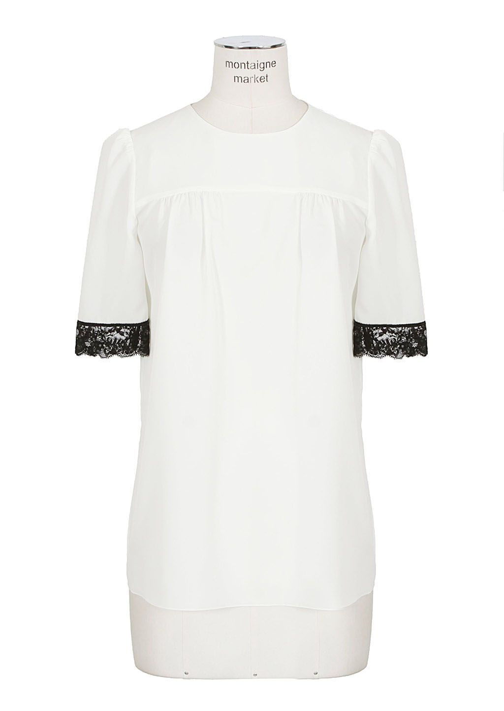 Marc Jacobs Top :: Marc Jacobs ivory silk and black lace top | Montaigne Market