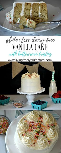 Moist and delicious gluten free and dairy free vanilla cake with