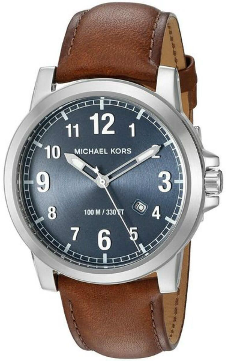 9a5a3dcf5f92 Buy this New   Authentic MK8501 Michael Kors Paxton Blue Dial Brown Leather  Strap Men Watch at a low price from watchwarehouse.com
