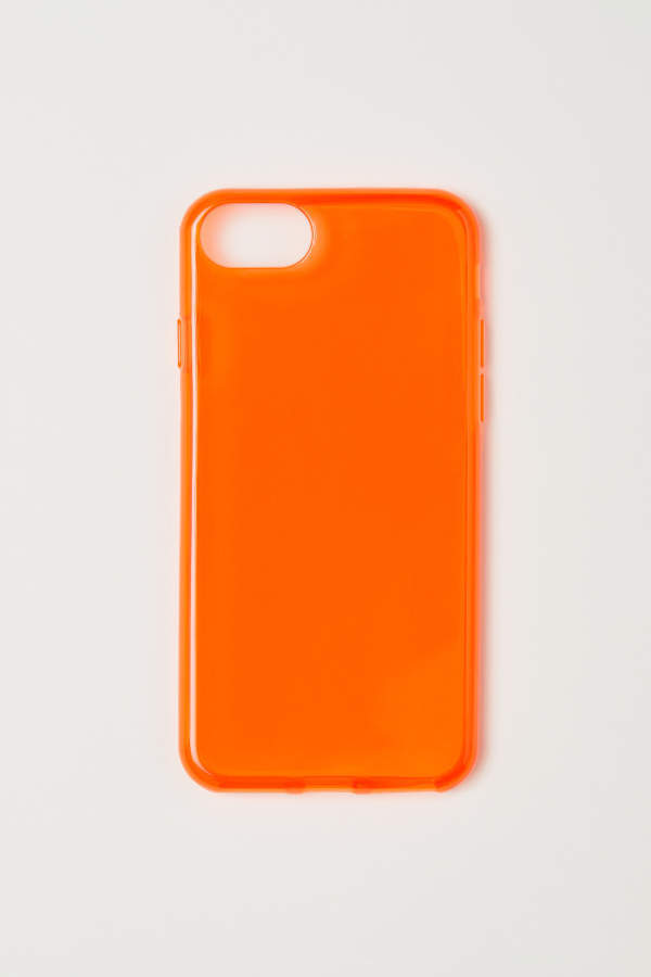 Funda Naranja pastel Silicona Logo Apple para iPhone