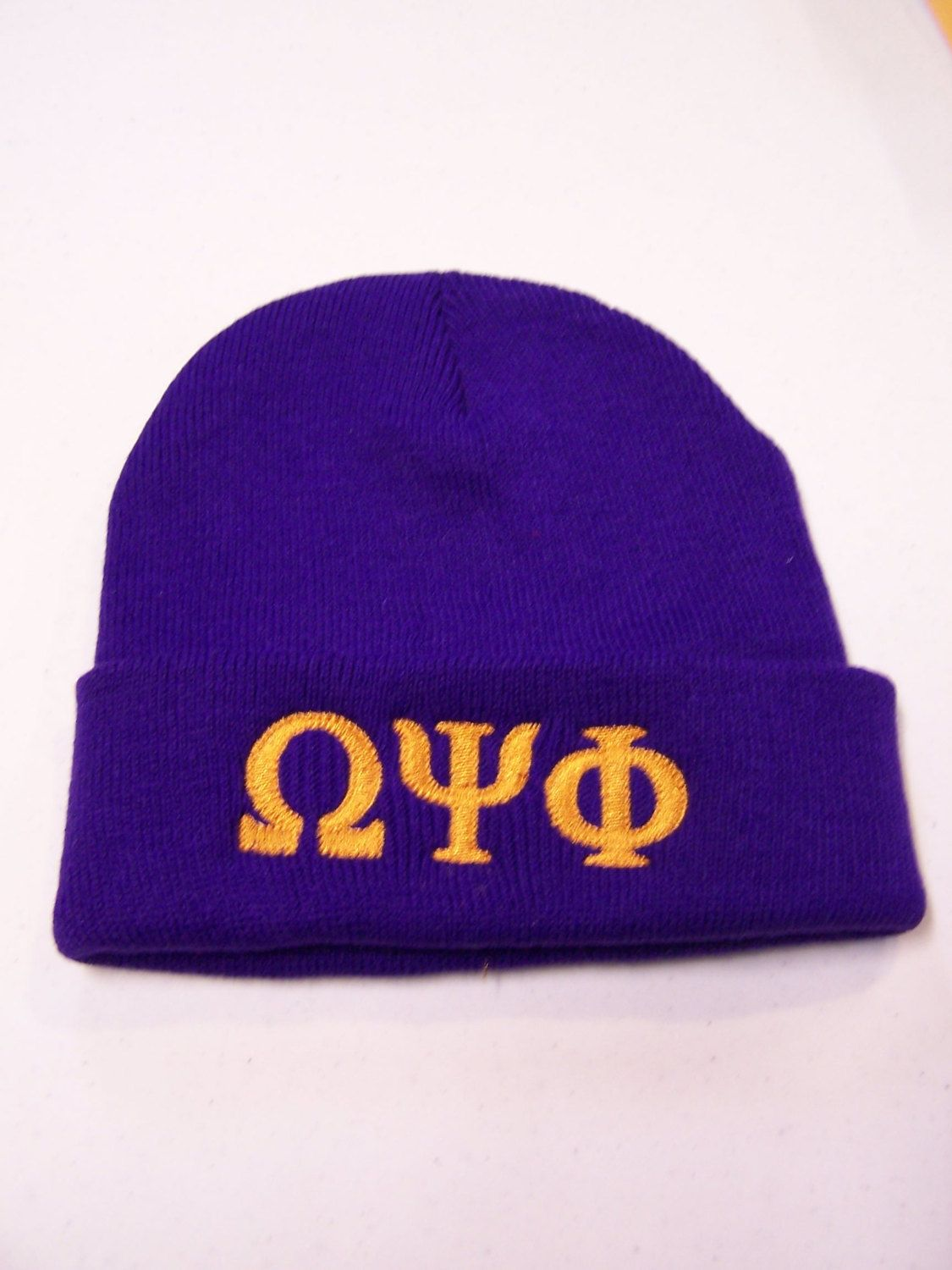 OMEGA PSI PHI Purple Embroidered Greek Letter Monogrammed Acrylic Knit  Beanie by MoDessaDesigns on Etsy dc563465851