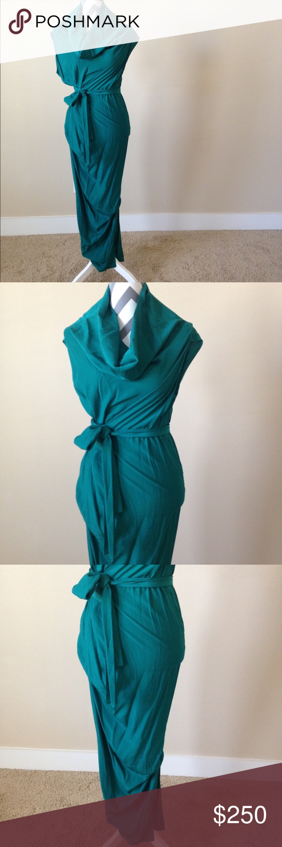 Australian Designer Dress One of a kind dress from Western Australian designer made in Australia. Unique draped gown emerald green in color, with pin tucks & slits on each side that almost goes to knee. Beautifully designed in a draped fashion with two sewn in belt ties to tie this on waist to your liking. Beautifully done. Never worn, comes in original dress bag. Australian size 8, which is an American size 00/0/XS (I am a 00 and this fit me perfectly when I tried it on). Dresses Maxi