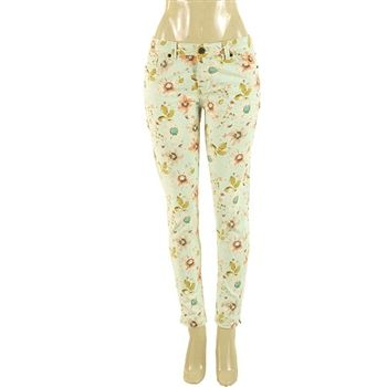 Floral skinny jeans with a vintage look.  Soft colors of aqua, peach, taupe & vanilla.  Sizes 4-16