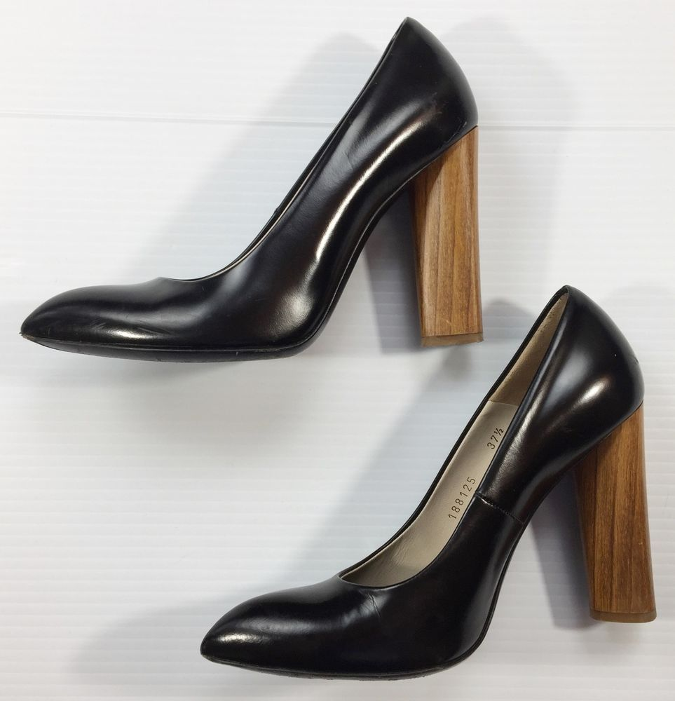 9ded9617c1f0 Yves Saint Laurent YSL Black Leather Charlotte Pumps Shoes Brown Wood Heel  7.5