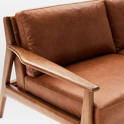 Mathias Mid-Century Wood Frame Leather Sofa (82.5\