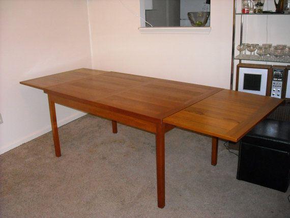 Teak Draw Leaf Extending Dining Table Danish Modern 4 To 8 Feet