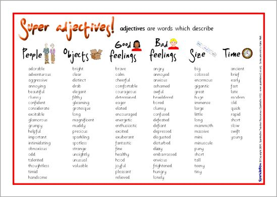 Adjectives word mat (SB6524) - SparkleBox | My School ...
