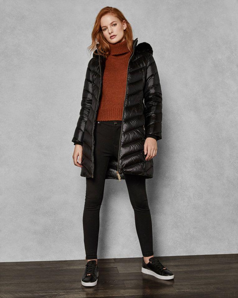 c562986beafa Chevron long quilted jacket - Black | Jackets and Coats | Ted Baker UK #uk  #fashion #clothing #black #puff #jacket