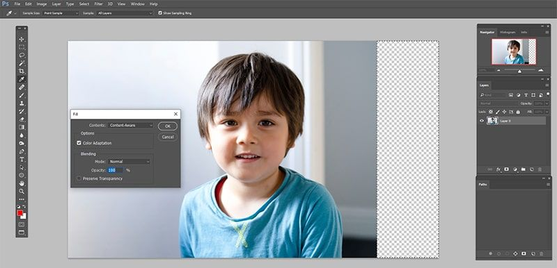 how to extend background in photoshop ipad