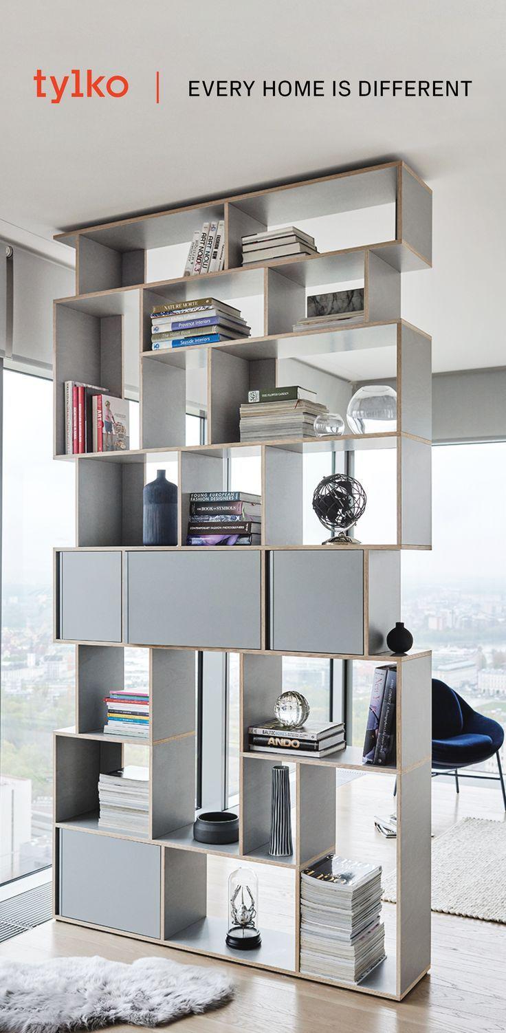 The Custom Gray Bookshelf From Tylko With Its Unique Scandinavian Styling Discover Jpg 736x1502 Futuristic Bookshelves