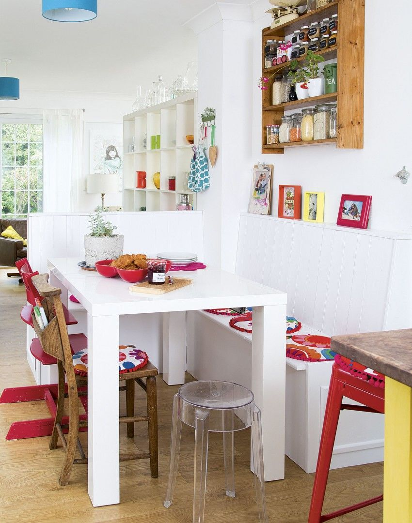 White Contemporary Kitchen with Primary Colour Accents | Kitchen ...