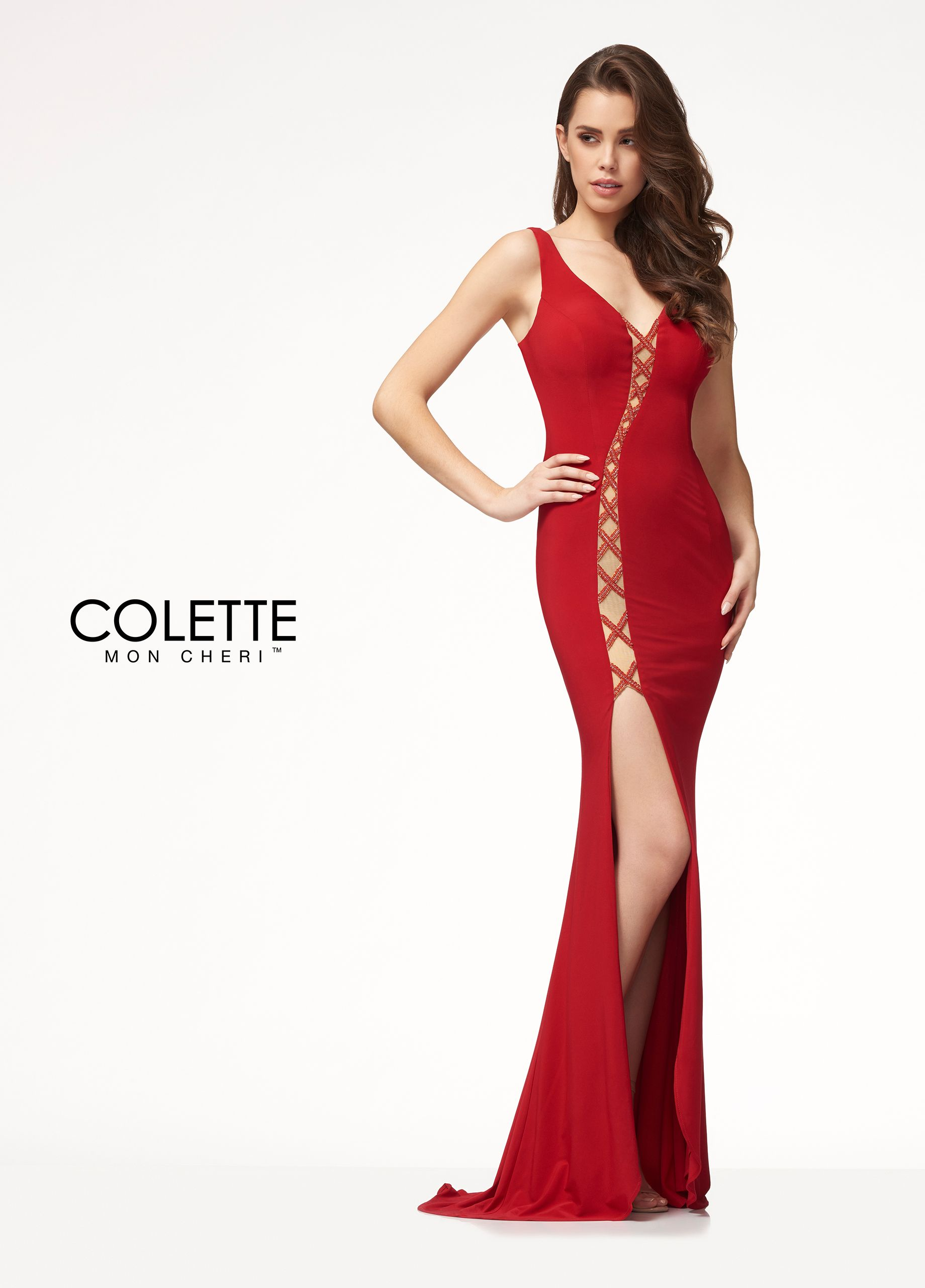Bold sexy cut out jersey prom dress colette for mon cheri cl
