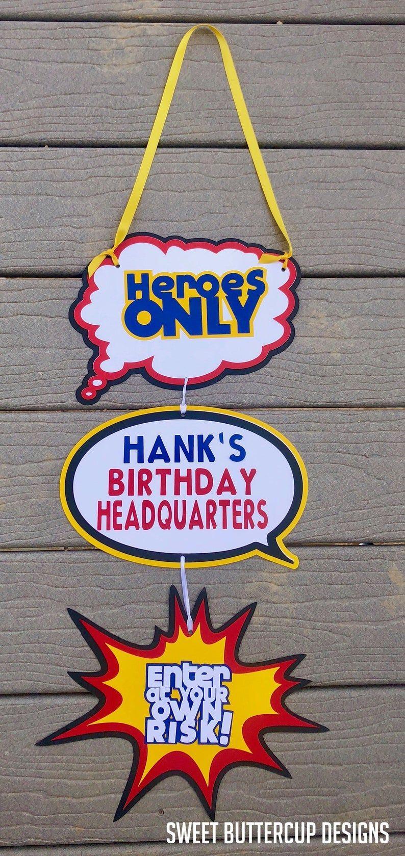 Superhero Letter Art Birthday Party Banner, Superhero