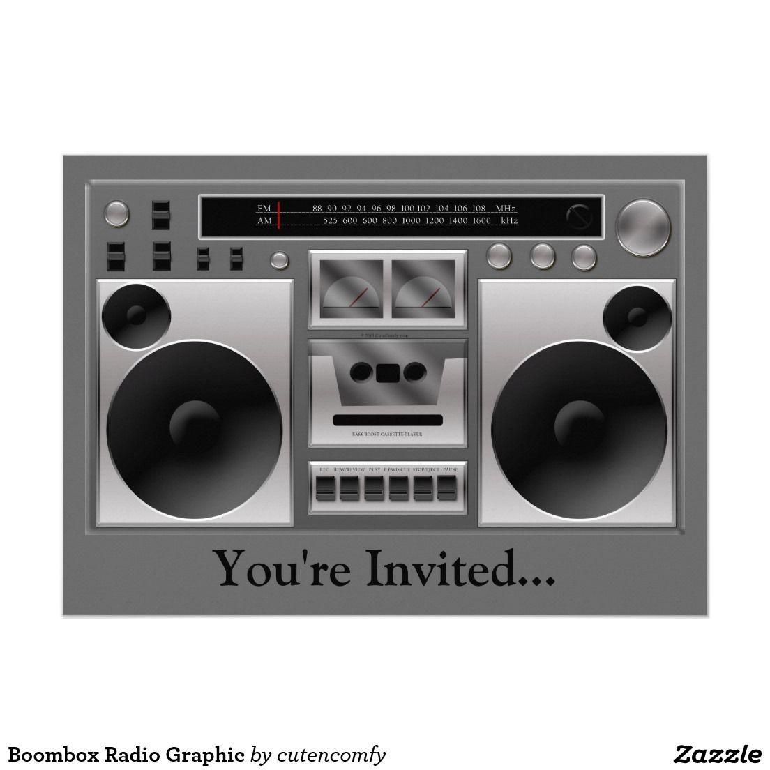 Boombox Radio Graphic Invitation Zazzle Com In 2019