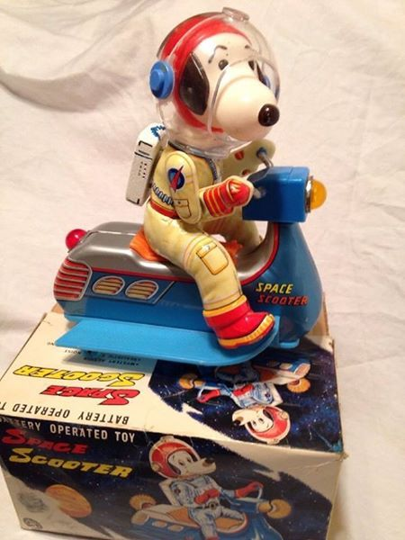 Rocket Dog! This Masudaya Snoopy Space Scooter is listed on eBay for $575. How much would a collector REALLY pay for it? Find out at CollectPeanuts.com.