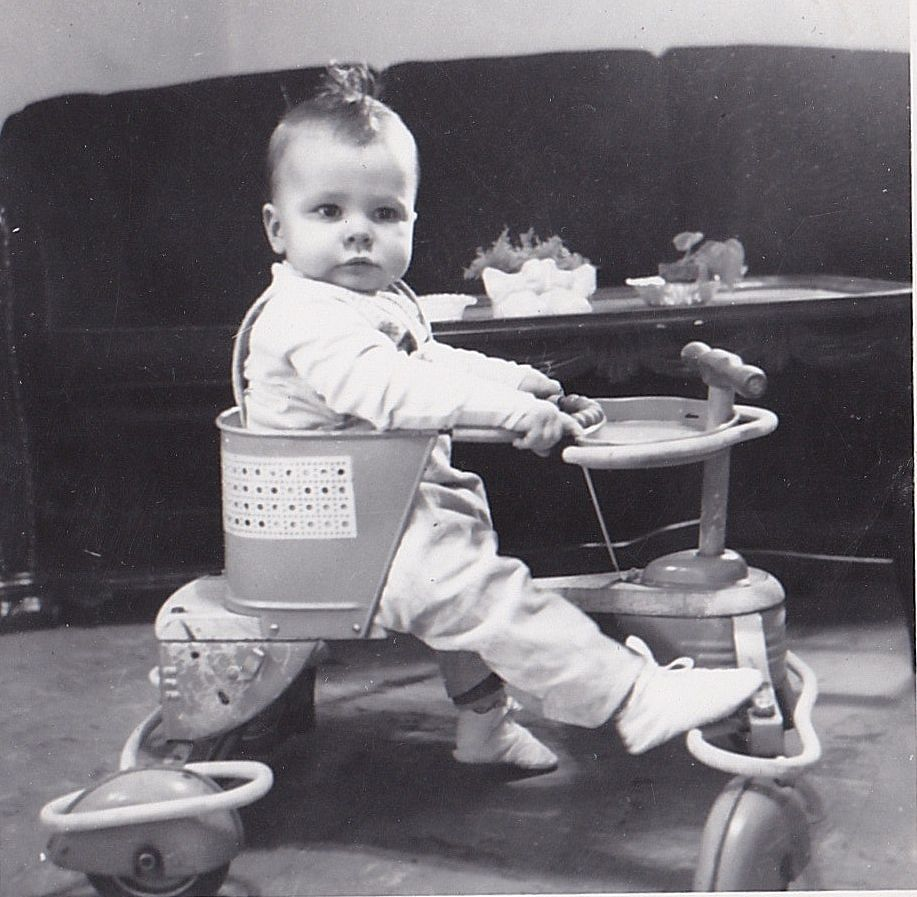 Vintage Antique Photograph Adorable Little Baby In Walker