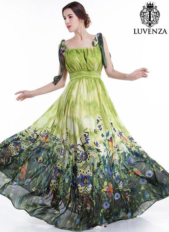 3537e53f92 Green Chiffon Colorful Bird Print Maxi Evening Dress  Floor Length Floral  Prom Dress  Pleated Bodice