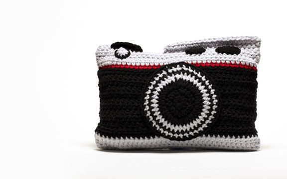 {Crochet Camera Pillow} - want to get this for my sister