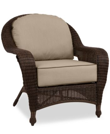 Furniture Monterey Wicker Outdoor Club Chair With Custom Sunbrella Created For Macy S Reviews Furniture Macy S Wicker Patio Furniture Sunbrella Cushions Wicker
