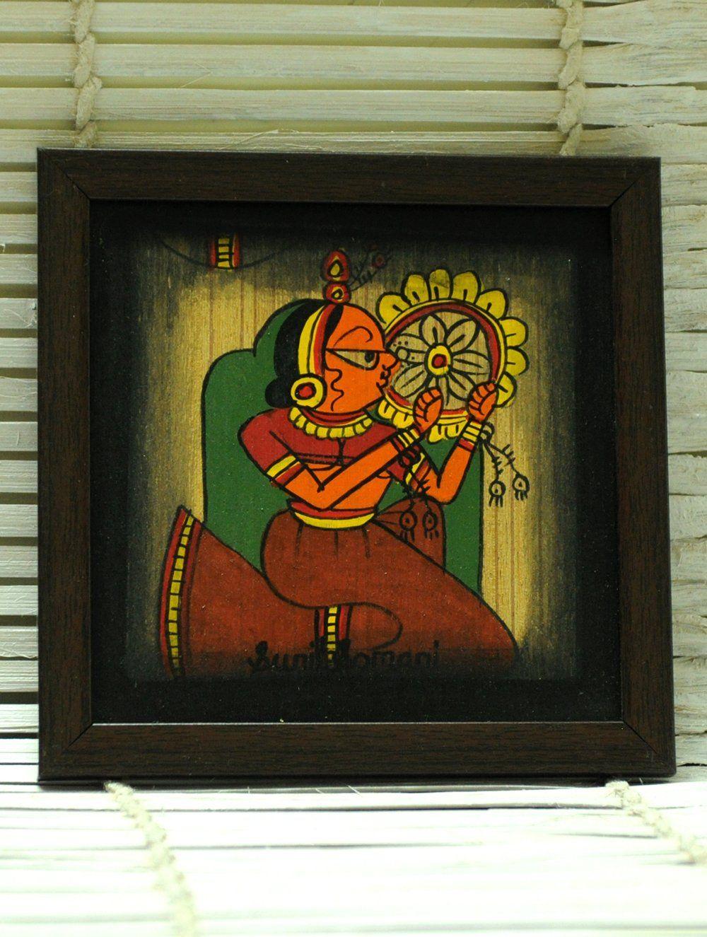 Phad Art Painting on Wood, Framed, Small, Multicoloured