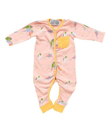 Look at this #zulilyfind! Light Pink Parrot Rompin' Playsuit - Infant #zulilyfinds