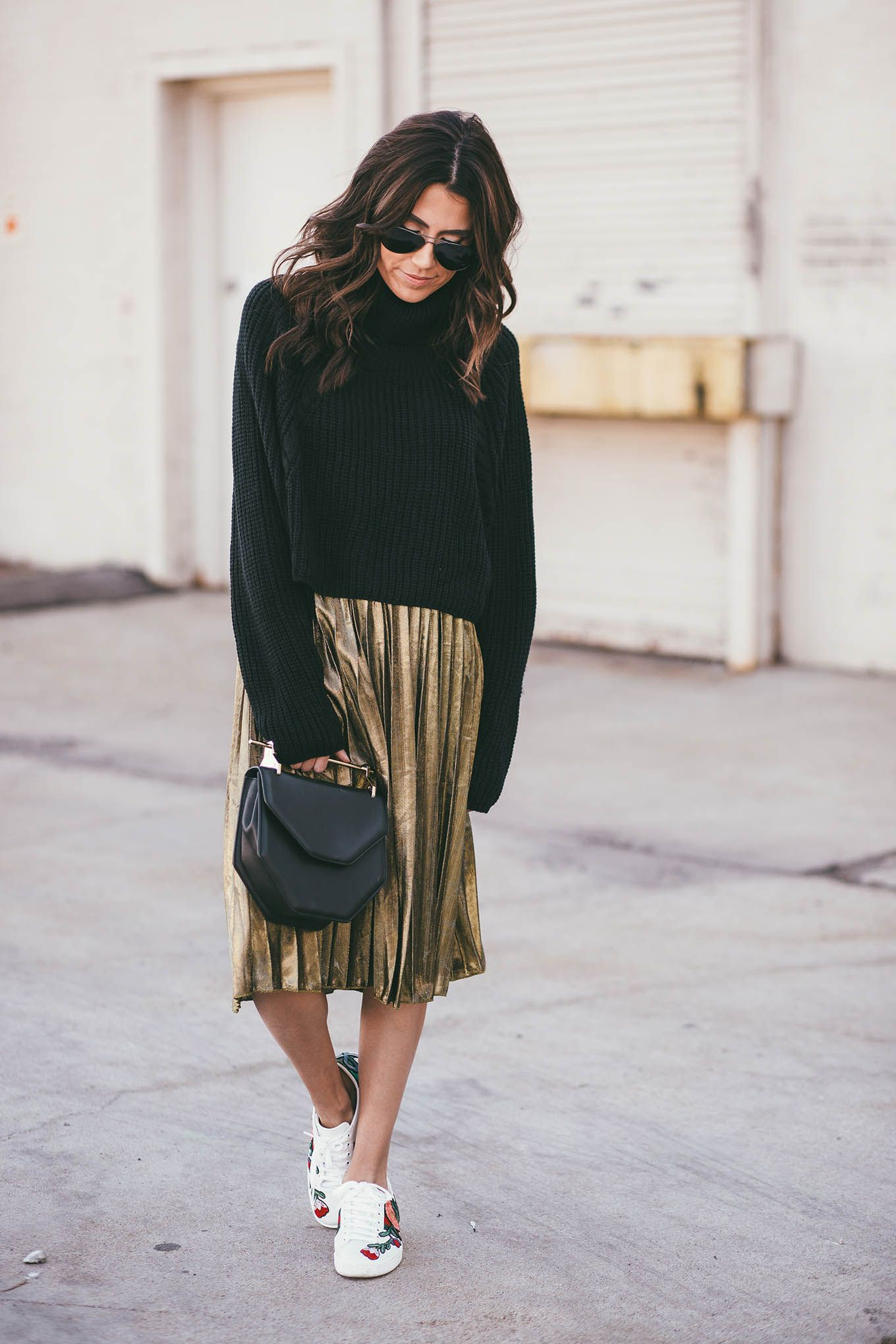 cropped sweater ily couture | Dress Up | Pinterest | Gold pleated ...