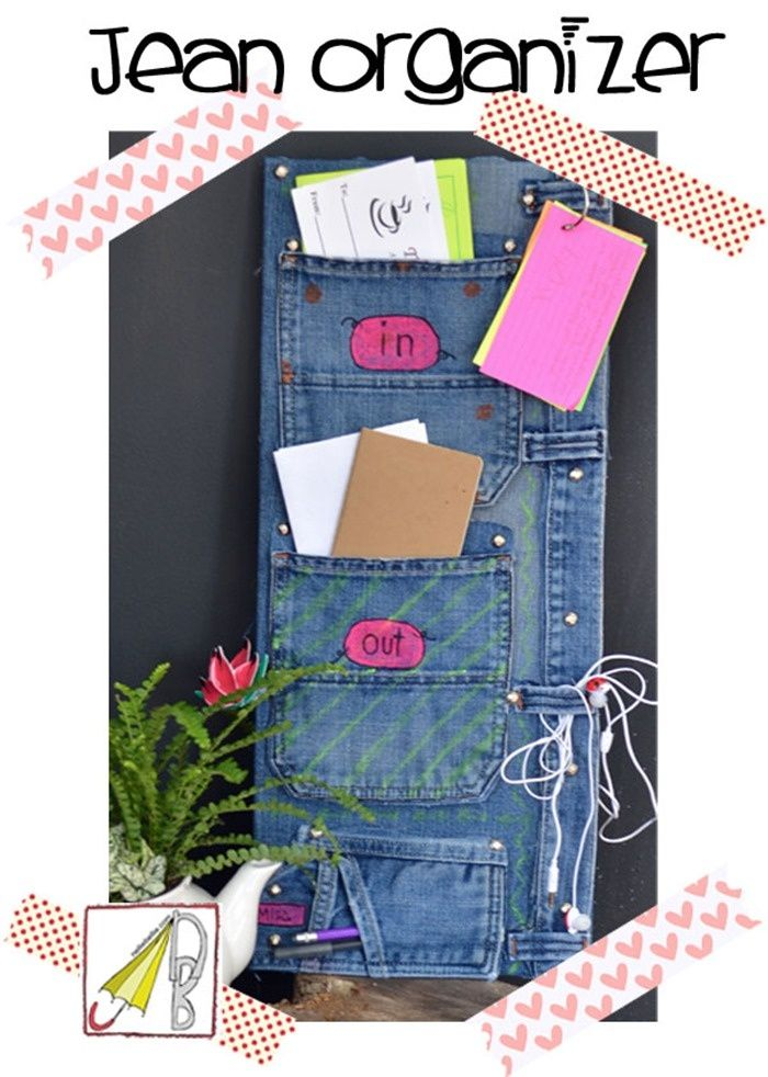 things to make with old jeans How to make a bill organizer out - bill organizer