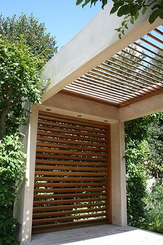 modern pergola with builtin recessed