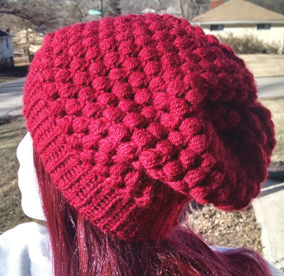 Red Crochet Slouchy Hat Beanie Hat handmade one size by atiltKC #craftshout0128 atiltkc.etsy.com #hats #hat #crochet #slouchy #beanie