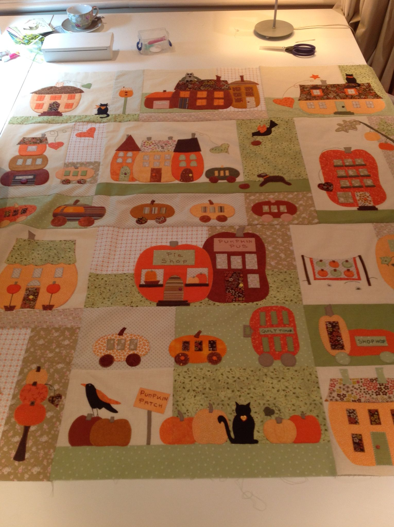 Pumpkin Vill by Bunny Hill Designs. Made by Creative Quilting as shop sample  Www.creativequilting.co.uk
