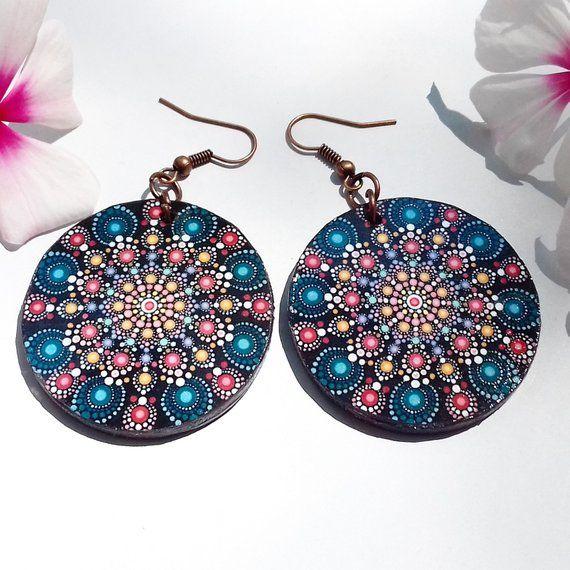 Fairytale Flower Mandala Earrings Wooden Earrings Round Earrings