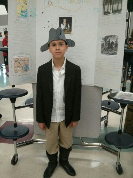 My son at wax museum as a young paul revere