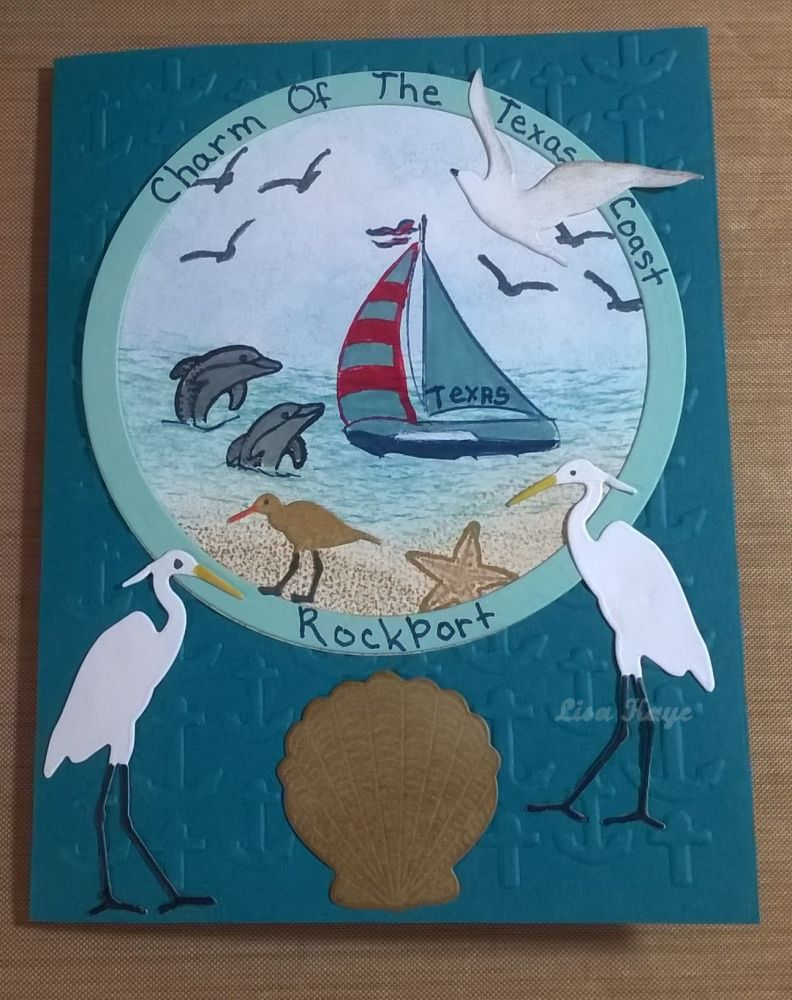 Beach at home, seagulls, egrets, dolphins, boat, ocean, sandpipers, birds, beachy, card