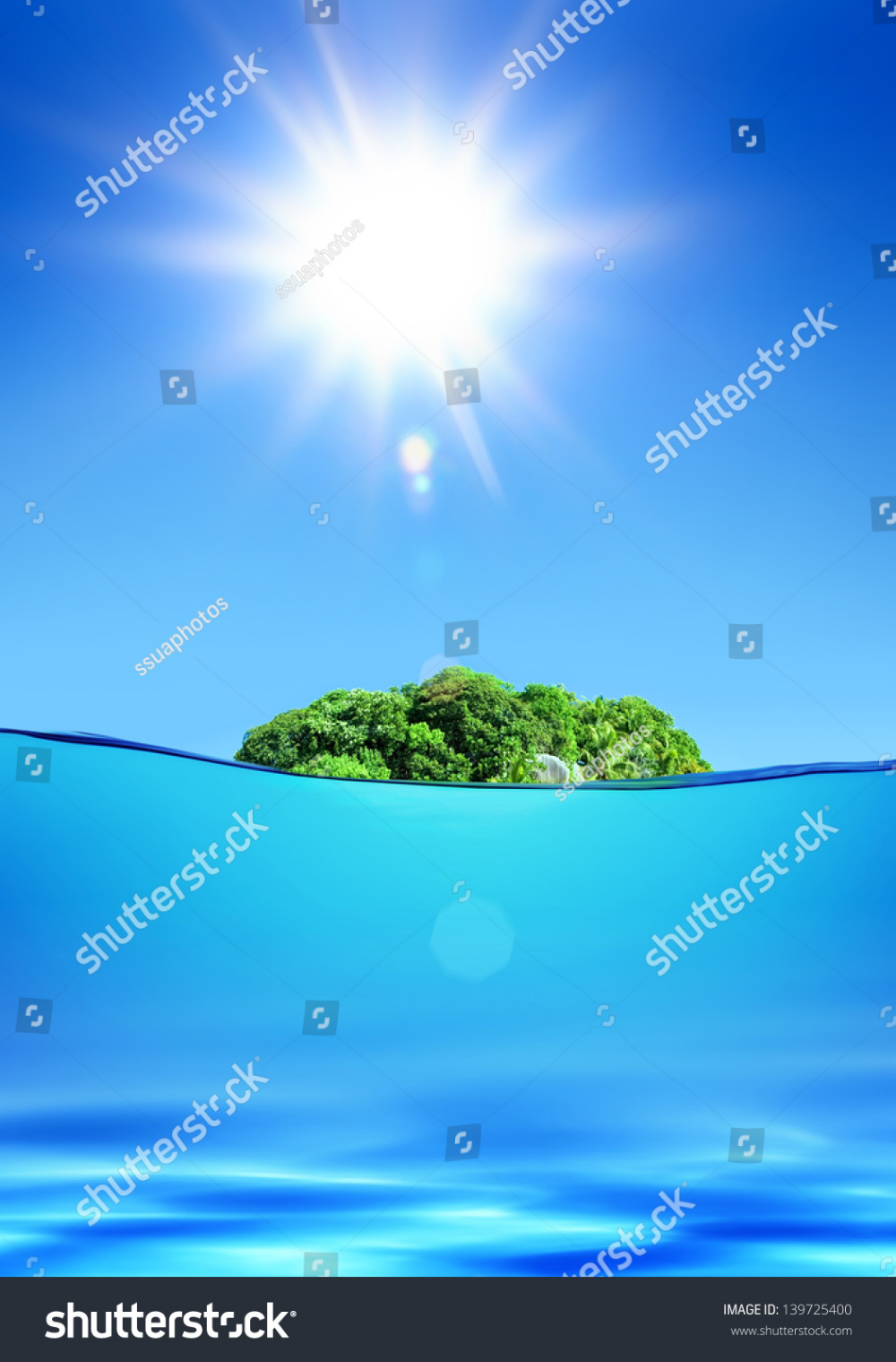 Download Deserted Green Tropical Island Under Shiny Sun In Ocean Royalty Free Images Stock Photography Photography In 2020 Ocean Images Tropical Islands Scenic