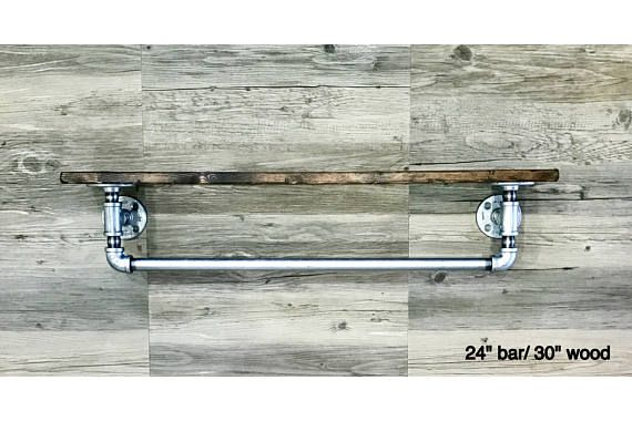 Rustic Distressed 7 25 Deep Rustic Towel Bar With Shelf Towel