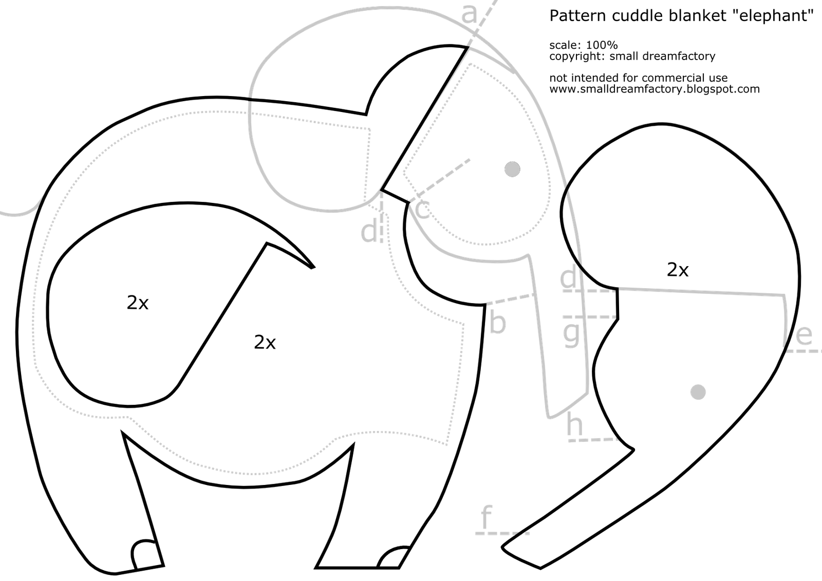 Elephant sewing pattern, Elephant patterns, Elephant