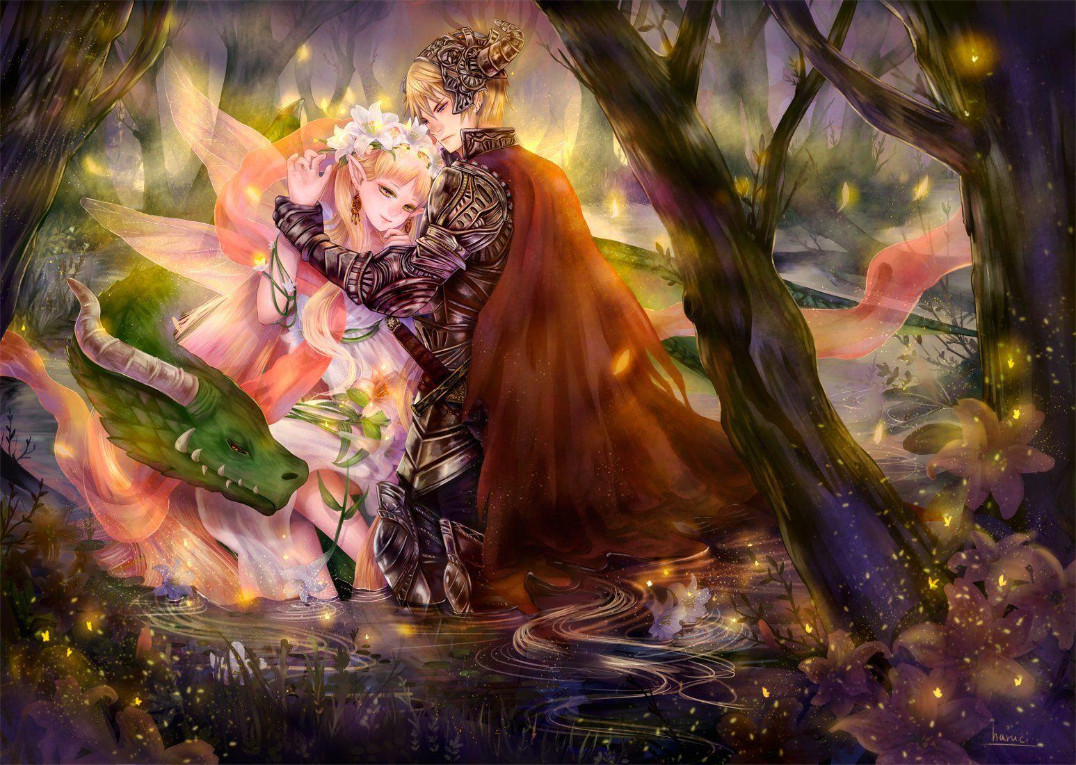 Love Fairy Anime Fantasy Tree Forest Magic Wings Flower