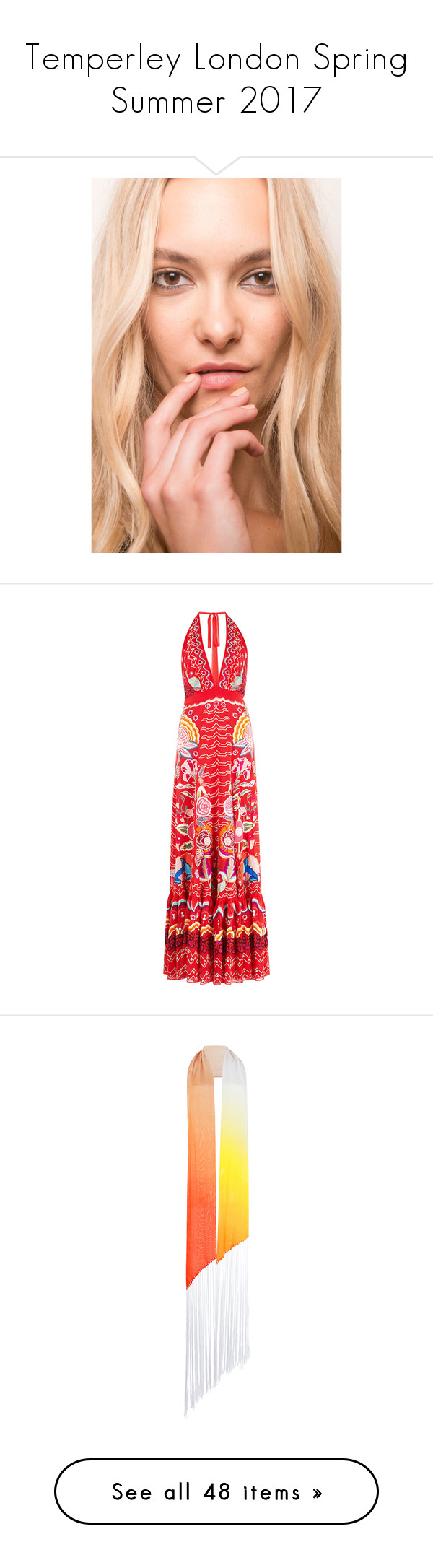 """""""Temperley London Spring Summer 2017"""" by enam ❤ liked on Polyvore featuring logo, text, dresses, red, a line flared dress, embroidered dress, red v neck dress, temperley london dress, red a line dress and accessories"""