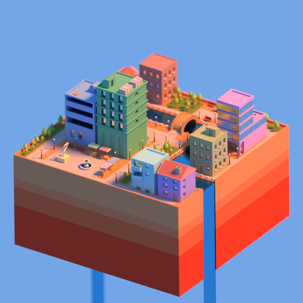 Low poly city by @commodore_kid on Twitter