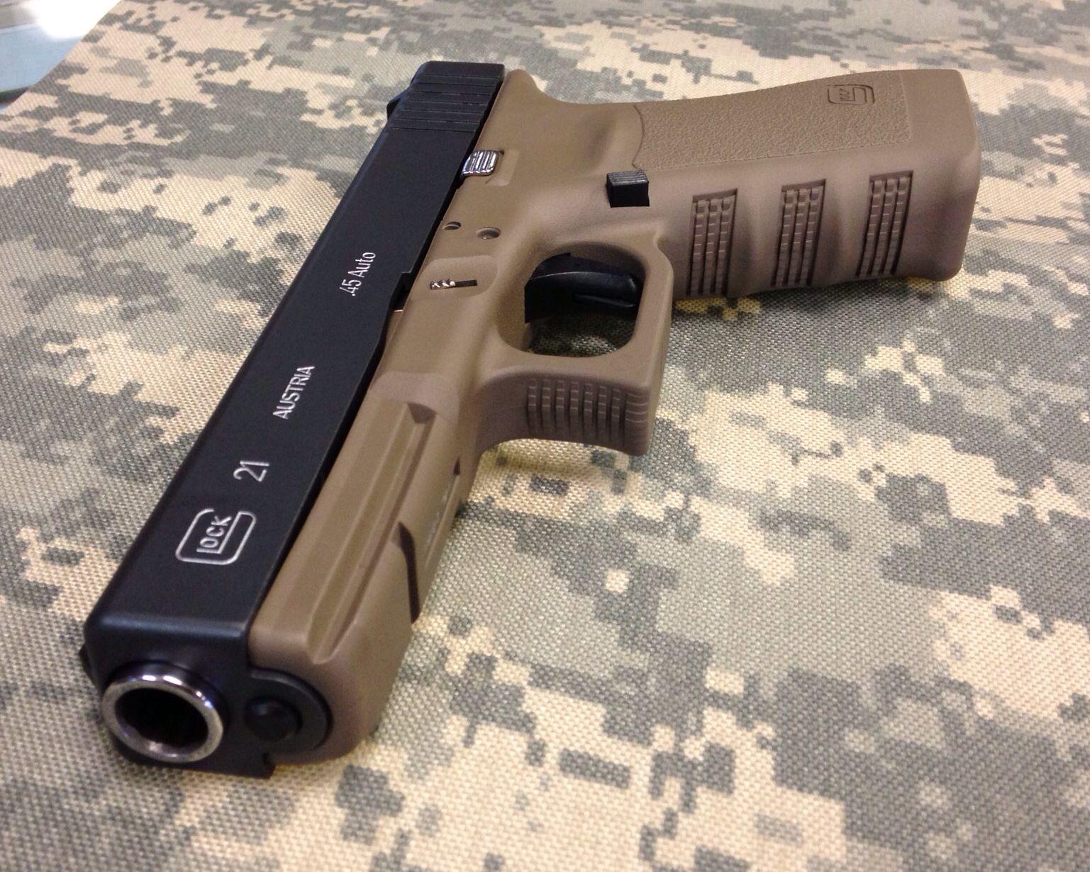Glock 21 cerakoted Sniper Grey and FDE.