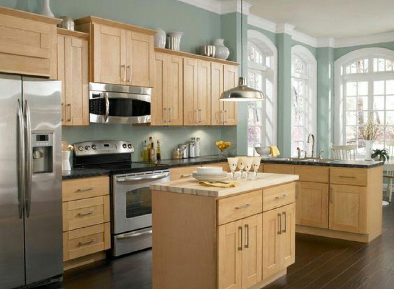 Sage walls with blonde cabinets | Kitchen | Pinterest