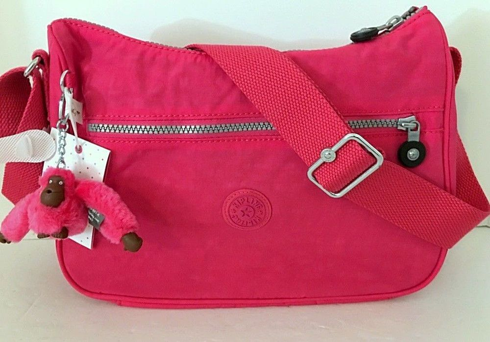 b8cc62864 NEW KIPLING Sally Crossbody Shoulder Hobo Bag Vibrant Pink Nylon HB6801  LIGHT #Kipling #Crossbody