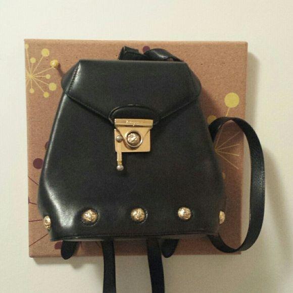 f08e80e1cc26 Vintage Salvatore Ferragamo leather backpack bag In great condition vintage  Salvatore Ferragamo black leather students mini backpack.