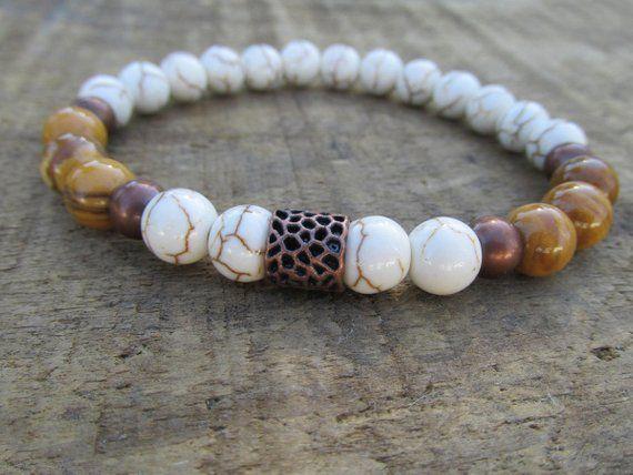c45e45b446 white howlite men s bracelet