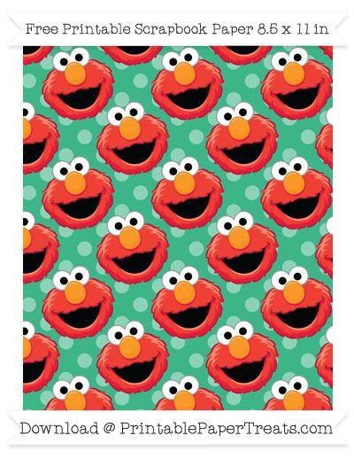 Free Mint Green Polka Dot Large Elmo Head Pattern Paper - Sesame Street