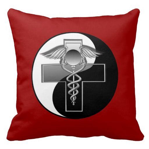 Caduceus Medical Symbol, with an YING YANG Design Throw Pillow