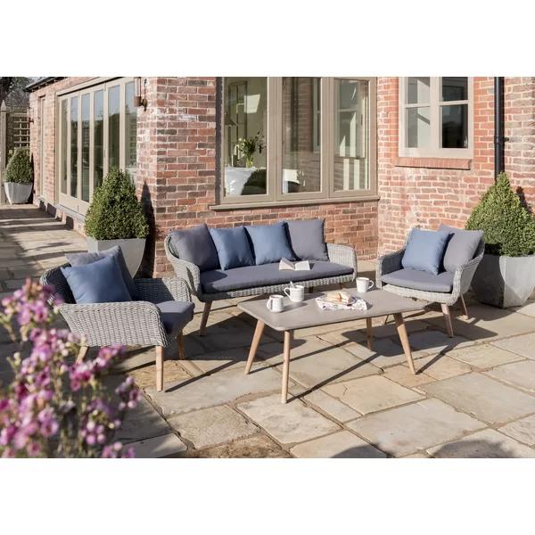 Pim 5 Seater Rattan Sofa Set With Cushions Garden Sofa Set Rattan Sofa Sofa Set